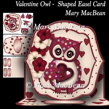 Valentine Owl - Shaped Easel Card