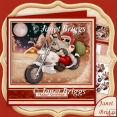 Cool Biker Santa 7.8 Christmas Decoupage Kit