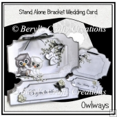 Stand Alone Bracket Card - Wedding Owls