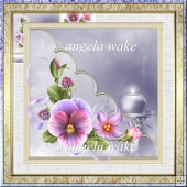candles and pansy card with decoupage