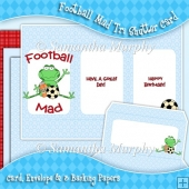 Football Mad Tri Shutter Card, Envelope & Backing Papers