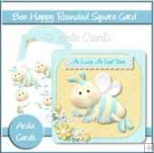 Bee Happy Rounded Square Card