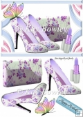 pretty flower lilac shoes with lippy & butterfly A5