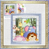 Jungle animals card with decoupage