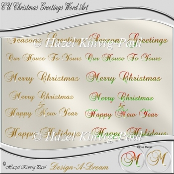 CU Christmas Greetings Word Art/Titles