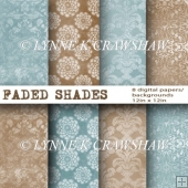 FADED SHADES - 8 high quality digital papers each 12in x 12in