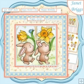 BUNNY PARADE 7.5 Decoupage & Insert Kit Easter Birthday Get Well