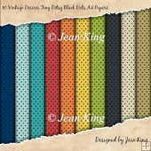 10 Vintage Desires Tiny Ditsy Black Dots A4 Papers
