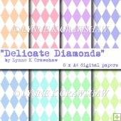 DELICATE DIAMONDS - 8 x A4 digital paper pack CUOK