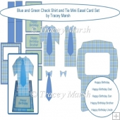 Blue and Green Check Shirt and Tie Mini Easel Card Set