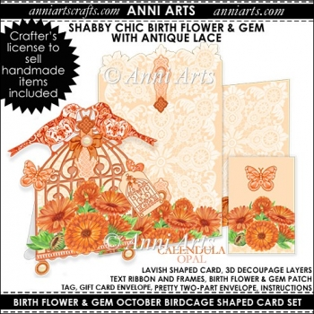 Birth Flower and Gem October: Shabby Chic Birdcage Card Set