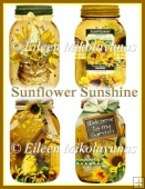 Sunflower Sunshine Mason Jar Embellishments for Toppers, Tags