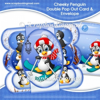 Cheeky Penguin Double Pop Out Card & Envelope