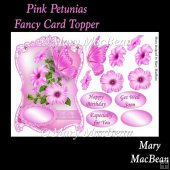 Pink Petunias Fancy Card Topper