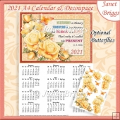YELLOW ROSES 2021 A4 Calendar with Decoupage Mini Kit