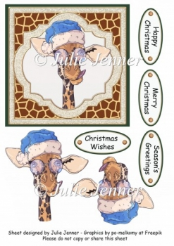 Christmas giraffe with blue christmas hat quick card