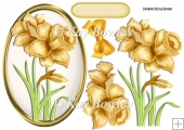 Yellow Daffodils in oval frame with gold bow A5