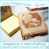 Sticky Notepad Holder - Owl Set 1
