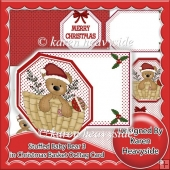 Stuffed Baby Bear 3 In Christmas Basket Octtag Tag Card
