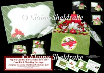 Candles & Poinsettias Pop-Up Box Card Kit & Matching Envelope