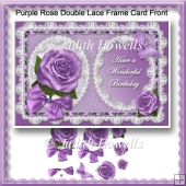 Purple Rose Double Lace Frame Card Front