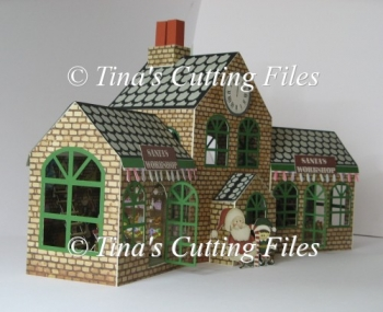 Santas Workshop 3D Model - 2 Storey Main Building And Side