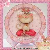 Cute Kitty Plate Card And Matching Envelope Kit