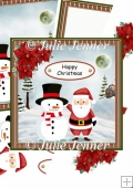 Santa and snowman christmas decoupage/optional poinsettia deco