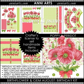 Birth Flowers and Gems August: Card and Gift printables