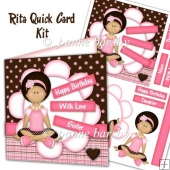 Rita Young Girl Pink and Brown Sentiments Card Kit.