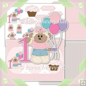 Birthday Girl Age 1 Cameo Tri Shutter Card Kit