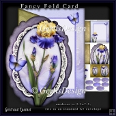 Oval fancy fold card kit blue yellow iris
