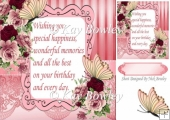 pink shades of roses with butterflies and verse card front 8x8