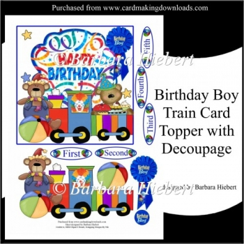 Birthday Boy Train Card Topper and Decoupage