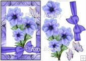 pretty purple flowers in scroll frame with bow & butterflies