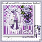 Purple Shopping With Flowers Large Square Card Front
