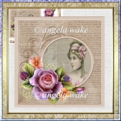English rose 7x7 card with decoupage