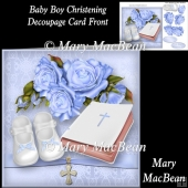 Baby Boy Christening Decoupage Card Front
