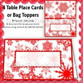 4 Place Cards-Christmas-Red Snowflakes