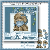 Puppy In Blue Bow Wrap Card Front