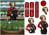 Card Croupier Dudess With Matching Insert