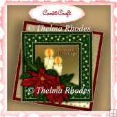 Red poinsettia and candles card topper