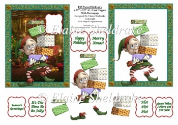 Elf Christmas Parcels - 4.5 x 5.5 US A2 Size Decoupage Card