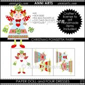 Christmas Poinsettia Fairy Paper Doll and Dresses