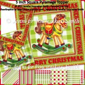 5 Inch Square Pyramage Topper-Christmas-Rocking Horse