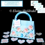 Roses Turquoise Designer Handbag Card Kit With Insert & Verse