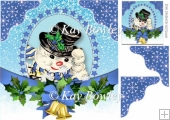 lovely snowman with bells and blue bow 8x8