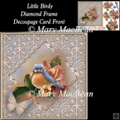 Little Birdy Diamond Frame Decoupage Card Front