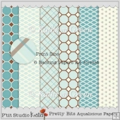 Pretty Bits - 6 Aqualicious CU Backing Papers in A4 Format