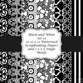 Black and White 12 x 12 Scrapbooking & Backing Papers Set 1